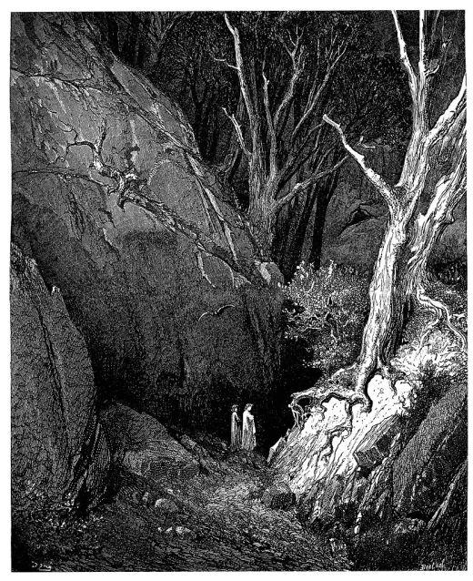 gravure,Doré,wiki833px-Gustave_Doré_-_Dante_Alighieri_-_Inferno_-_Plate_5_(End_of_Canto_I)