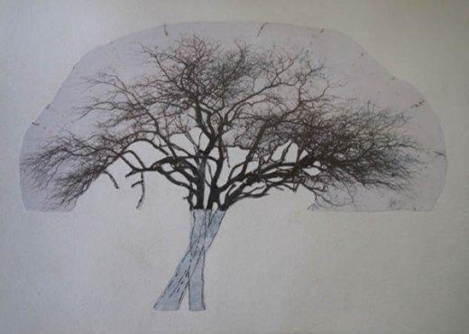 Verhoest Xavier,L'arbre memoire (III) WPft,mixed media on paper, 29x21cm,2011